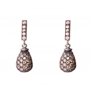 ROSSELLA UGOLINI BROWN DIAMOND DROP EARRINGS