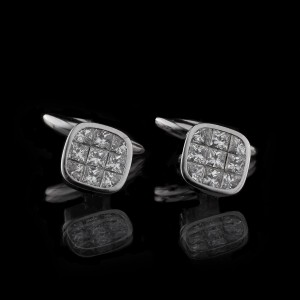 GUY & MAX ONE OFF INVISIBLE SET DIAMOND CUFFLINKS